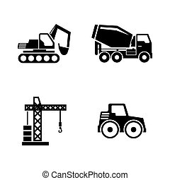 Construction Vehicles, Building Machines. Simple Related Vector Icons