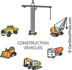 Construction vehicles cartoon vector illustration