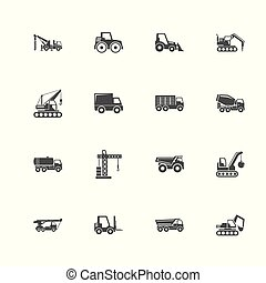 Construction Vehicles - Flat Vector Icons