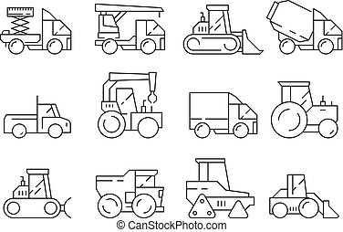 Construction vehicles. Heavy machinery for builders trucks lifting crane bulldozer vector linear symbols isolated