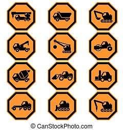 Construction vehicles icon set EPS10