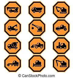 Construction vehicles icon set