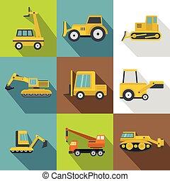 Construction vehicles icons set, flat style