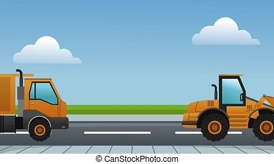 Construction vehicles on road HD definition - Construction...