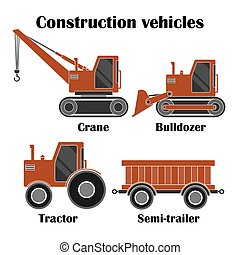 Construction vehicles set of Crane, Bulldozer and Tractor with semi-trailer isolated over white background.