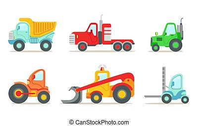 Construction Vehicles Set, Truck, Tractor, Forklift Loader, Bulldozer Vector Illustration