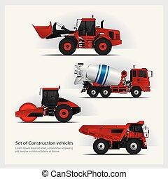 Construction Vehicles Set Vector Illustration