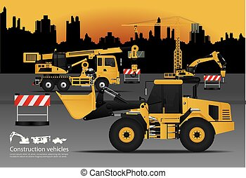 Construction Vehicles Set with Building Background Vector Illustration