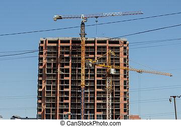 construction, ville, bâtiment, grand
