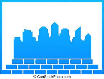 construction, ville, symbole