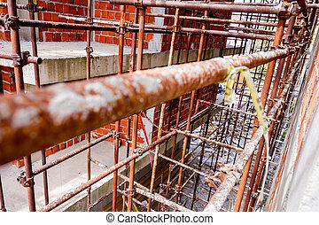 construction, vue, échafaud, vide, site