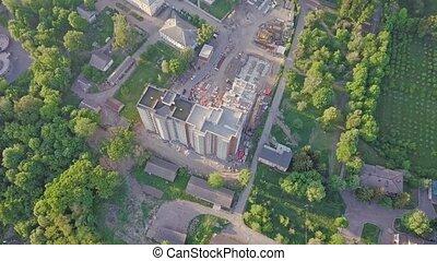 construction, vue aérienne, bâtiment, multistorey