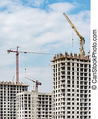 construction., vue, construction, logement, site