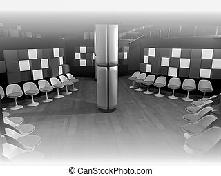 construction. waiting room with chairs in hospital, clean room with shapes in 3d, business space and work