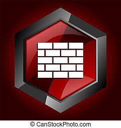 construction wall brick home buildl dark red vector hexagon icon