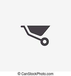 construction wheelbarrow icon, isolated, white background