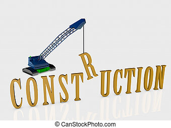Construction with crane 3D render