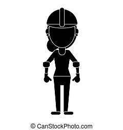 construction woman helmet pictogram vector illustration eps...
