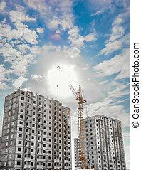 Construction work site and column crane