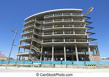 Construction work site with blue sky