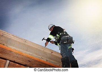 Construction worker - A carpenter working on a consruction ...