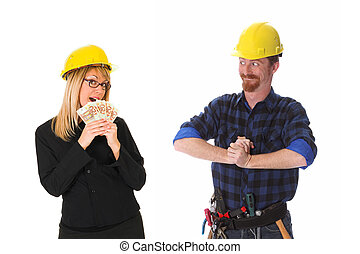 construction worker and businesswoman with earnings