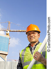 construction worker and crane
