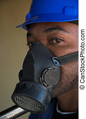 Construction worker and dust mask