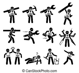 Construction worker and handyman stick figures icons set.