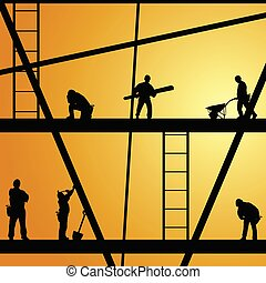 construction worker at work vector illustration -...