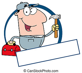 Construction Worker Banner - Handy Man With Tool Box And...
