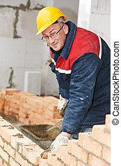 construction worker bricklayer - Portrait of construction...
