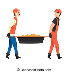 Construction Worker Carrying Sand, Male Builder Character Wearing Uniform and Protective Helmet Building House Cartoon Vector Illustration