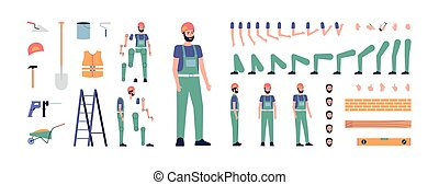Construction worker character animation set flat vector illustration isolated.