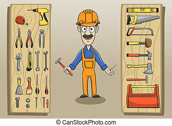Construction worker character pack with engineering tools and equipment vector illustration