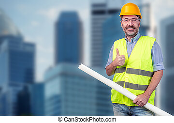construction worker, cityscape blurred background
