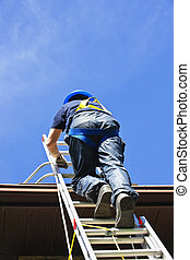 Construction worker climbing ladder