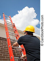Construction Worker Climbs Ladder - Construction worker...