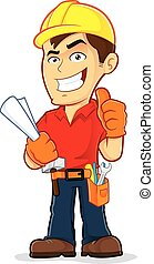 Clipart picture of a construction worker cartoon character