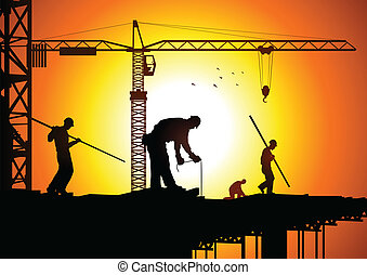 Construction Worker - Silhouette illustration of...