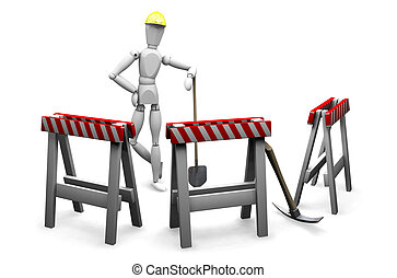 Construction worker - 3D render of a construction worker on...
