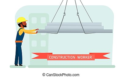 Construction worker. Construction site. Builder with a concrete wall. African american people. Vector.