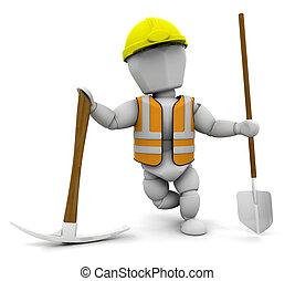 Construction worker - 3D render of a construction worker
