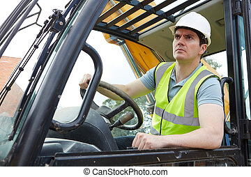 Construction Worker Driving Digger