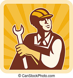 Construction worker, engineer or mechanic holding spanner looking up with sunburst in background.