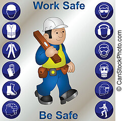Construction worker wearing personal protection equipment...