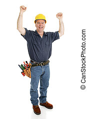 Construction Worker Excited - Construction worker excited by...