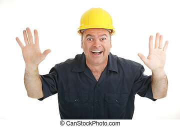 Construction Worker Excitement - Enthusiastic constrictuon...