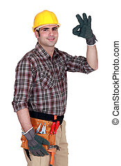Construction worker giving his sign of approval