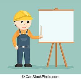 construction worker giving presentation